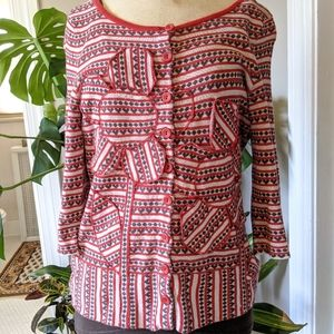 Red and black Anthropologie cardigan
